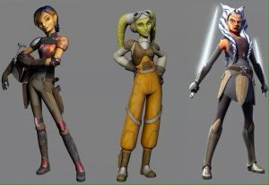 Left to right: Sabine, Hera, Ahsoka